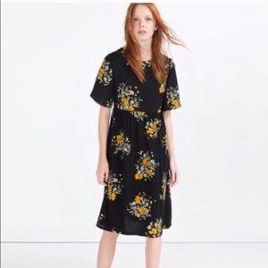 Zara short sleeve black yellow floral midi dress